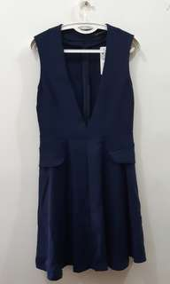New Zara size M dress 藍色背心及膝裙