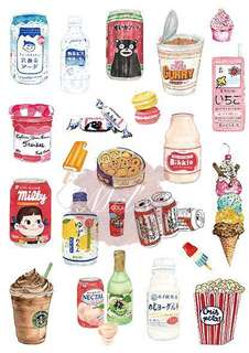 Japanese Childhood Memory Food Luggage Sticker • Yogurt Milk Curry Instant Noodles Starbucks Ice-cream Popsicle Candy Macaron Water Cola