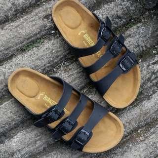 Sandal BIRKENSTOCK Pria FLORIDA Gesper 3. Hitam. Premium.