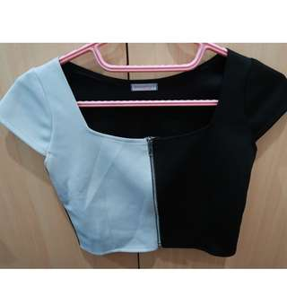 Top Half Black & White with zipper