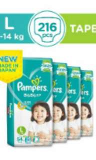 Pampers Baby Dry Diapers size L (4 packets)