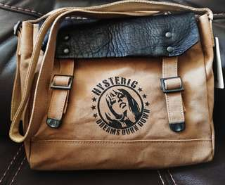 日本製 VIP限定 Hysteric Glamour Leather canvas 2 ways messenger bag waist bag 2用皮革併帆布袋 可側或斜咩 腰包 apc supreme bathing ape
