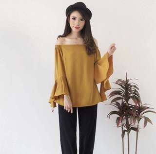 2AO GRAIN TOP Bahan twiscone fit L - Mustard