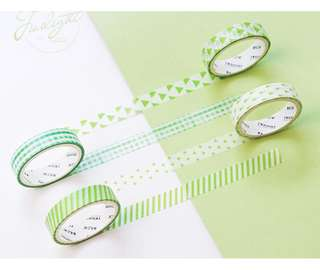 Green Themed 4-in-1 Washi Tape #272