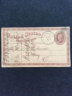 US 1874 1c Brown Liberty Postal Card Large Watermark, Springfield Ohio Cork Killer