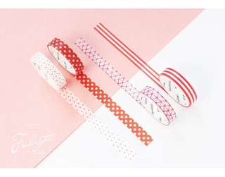 Red Pattern Themed 4-in-1 Washi Tape #274