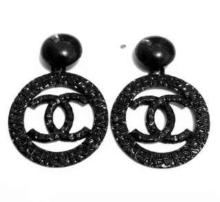 New Chanel Hoop Earrings - Black or gold