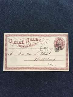US 1875 1c Brown Liberty Postal Card Large Watermark, Unique Cork Killer, North East to Wattsburg Pennsylvania