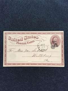 US 1875 1c Brown Liberty Postal Card Large Watermark, Unique Cork Killer, North East to Wattsburg Pennsylvania