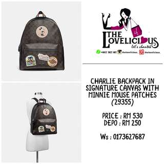 CHARLIE BACKPACK IN SIGNATURE CANVAS WITH MINNIE MOUSE PATCHES COACH F29355