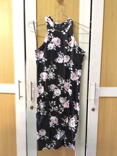 Bodycon Flowery Dress Halter Neck