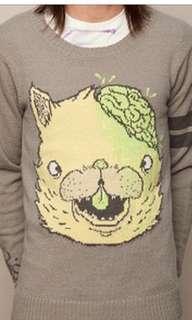 Drop Dead Kitty Brainz Knitted Jumper
