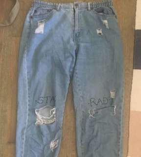 """""""Stay Rad"""" distresses, modified/personalised jeans"""