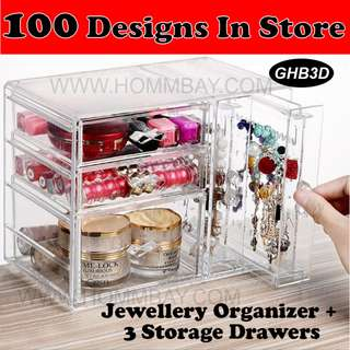 Makeup Make up Organizer Clear Acrylic Transparent Cosmetic Jewellery Jewelry Organiser Organizer Drawer Storage Box Holder I GHB3D