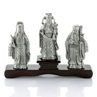 Fu, Lu & Shou Figurine Pweter