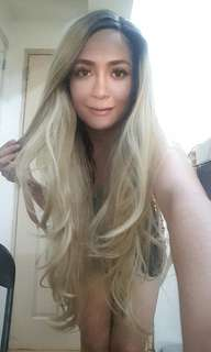 Wig high quality thick lace front blonde with dark roots very long