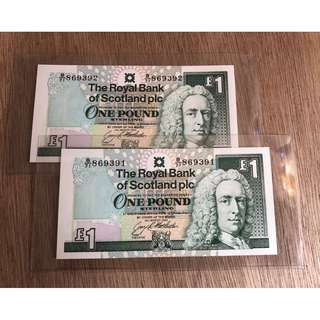 Scotland 1992  £1 Consecutive 2 notes unc