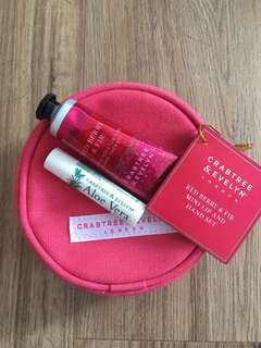 BN Crabtree & Evelyn Red Berry & Fir Mini Lip and Hand Set
