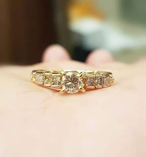 18K yellow Gold Engagement Type Ring. Center stone .20 carats with 8 pcs princess cut accent diamonds, approximately .32 cwt. Ring size 6 ❤️MARK DOWN SALE P30K ONLY ❤ ✖✖P32k✖✖ Swipe for detailed pics  Cash/card/layaway accepted