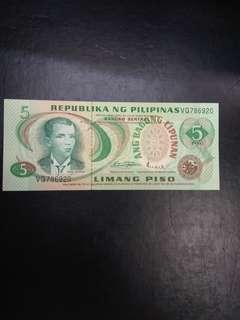 Philippines 5 pesos Ang Bagong Lipunan issue