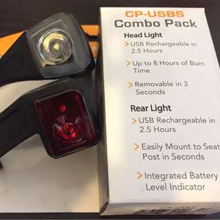 USB Rechargable Lights for Bicycles: Head & Rear (HK$50)