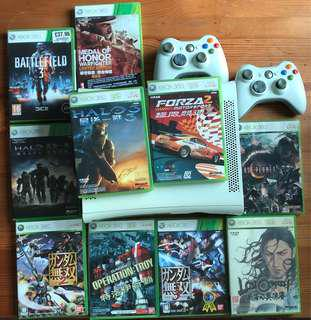 Xbox 360 60GB + 12 games & 2 Controllers