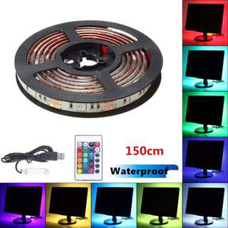 1002. TV Backlight,SOLMORE RGB USB LED TV Backlight Strip Lights,5050 Flexible Light Strip,Waterproof Ribbon Light with IR-Controller for Flat Screen TV Accessories Desktop PC Background Bias Lighting 150cm
