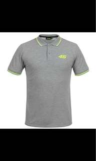 2018 MotoGP VR46 Core Collection Valentino Rossi Small 46 Polo T-Shirt - Grey for Yamaha Polo Shirt MENS