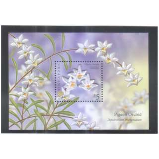 SINGAPORE 2009 PIGEON ORCHID COLLECTOR'S SHEET (EMBROIDERY) OF 1 STAMP IN MINT MNH UNUSED CONDITION WITHOUT FOLDER