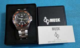 Brand New Musk Paris GMT Watch. With Original Box and Papers.