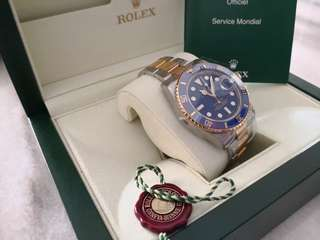 LNIB Rolex Submariner 116613LB steel/gold blue ceramic bezel