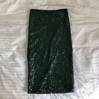 Topshop Green Sequin Pencil Skirt