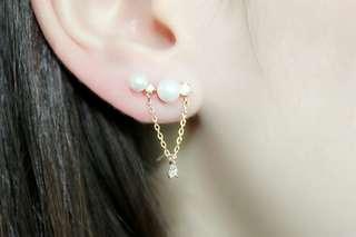 珍珠吊石耳環