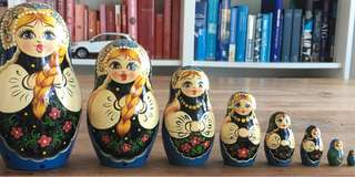 9 set Babushka Toy from Russia, plywood material
