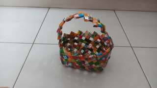 Handmade basket out of recycled plastic        Exchanges are very welcome