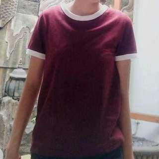 T Shirt H&M Maroon Size Xs