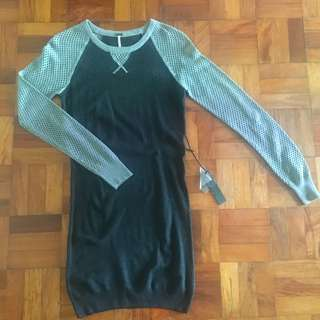 NEW Black & Grey LongSleeves Knitted BodyCon Dress