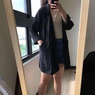🚚 雪紡材質寬鬆中長版西裝外套