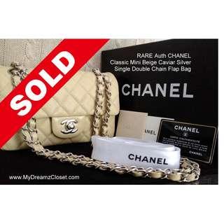 SOLD - FULL SET RARE NEW 100% CHANEL Classic Mini Beige Caviar Silver Single Double Chain Flap Bag
