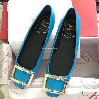 Roger vivier rv trompette leather flat 水藍色 平底鞋