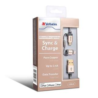 Micro USB 及 Lightning 2合1充電傳輸線