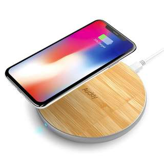 1009. Auckly Fast Wireless Charger, 10W Bamboo Qi Wireless Charging Pad with Matte Aluminum Newest Model for iPhone 8/8 Plus/X and Samsung Galaxy Note8/Note5/S9/S9+/S8/S8 Plus/S7/S7edge/S6/S6Egde