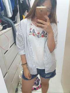 條紋薄襯衫