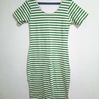 White and Green Stripes Bodycon Dress
