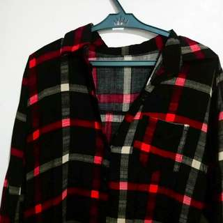 Red and Black Flannel Dress
