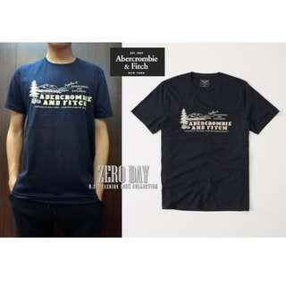 美國A&F專櫃帶回真品Abercrombie&Fitch Logo Graphic Tee美式貼布短袖T-深藍色