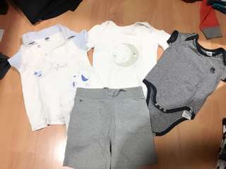 3 Branded Onesies Enfant / Cotton On  with free TH Tommy Baby Short for 3-6 months old