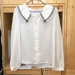 學院風白色雪紡襯衫上衣 Chiffon Top
