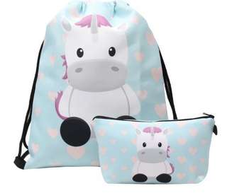 Lovely 2pc Unicorn theme drawstring bag & pouch