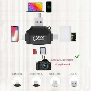 🚚 Global Micro SD & TF Card Reader Lightning Type C USB Connector Memory Card Reader Adapter 4-in-1 Flash Drive for iPhone iPad Android Mac Samsung S8 S8+ Note 8